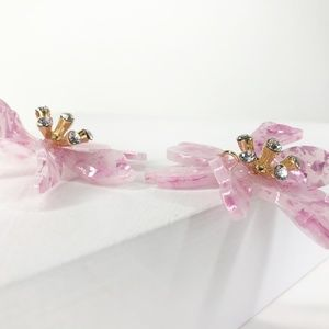 Closet Rehab Jewelry - Mini Crystal Lily Drop Earrings in Pink